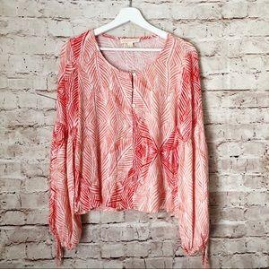 LOVE STITCH | printed pink boho festival top L